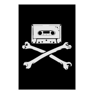 Tape & Crossbones Music Pirate Piracy Home Taping Poster