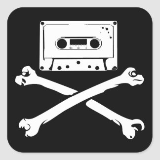 Tape & Crossbones Music Pirate Piracy Home Taping Square Sticker