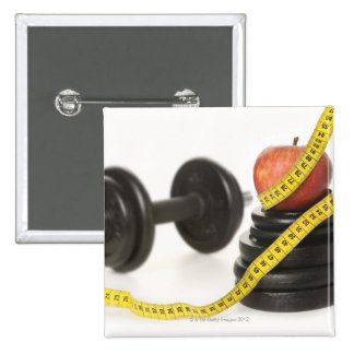 Tape measure, apple, dumbbell and weights pinback buttons