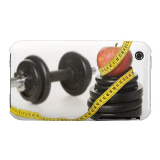 Tape measure, apple, dumbbell and weights iPhone 3 case