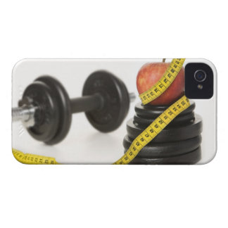 Tape measure, apple, dumbbell and weights iPhone 4 cover