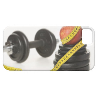 Tape measure, apple, dumbbell and weights iPhone SE/5/5s case