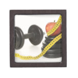 Tape measure, apple, dumbbell and weights keepsake box