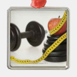 Tape measure, apple, dumbbell and weights christmas ornament