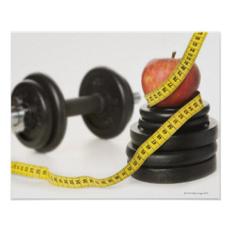Tape measure, apple, dumbbell and weights poster