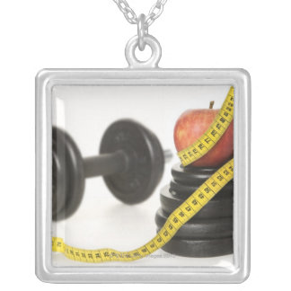 Tape measure, apple, dumbbell and weights silver plated necklace