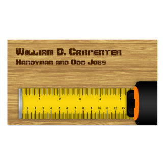 Tape Measure on Wood Construction Business Cards
