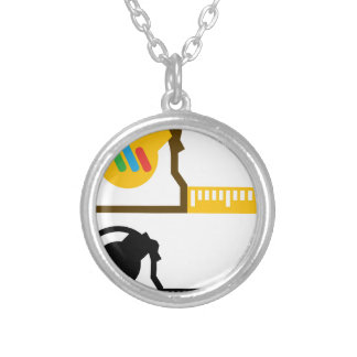 Tape measure silver plated necklace