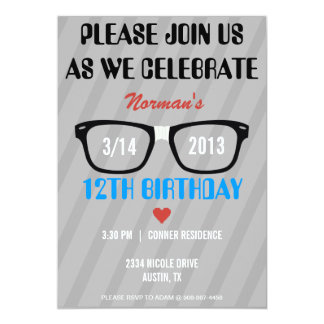 Taped Geek Glasses & Hearts Boy Birthday Invite