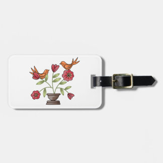 TAPESTRY BIRDS ON FLOWERS TRAVEL BAG TAGS