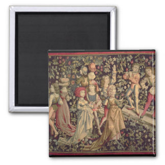 Tapestry depicting dancers and musicians 2 inch square magnet