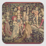 Tapestry depicting dancers and musicians square sticker