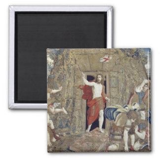 Tapestry depicting the Resurrection of Christ in 2 Inch Square Magnet