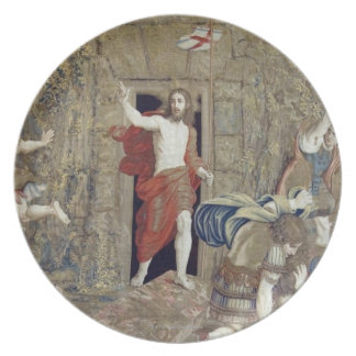 Tapestry depicting the Resurrection of Christ in Dinner Plate