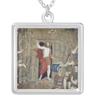 Tapestry depicting the Resurrection of Christ in Square Pendant Necklace