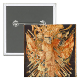 Tapestry depicting war trophies (textile) 2 inch square button