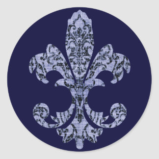 Tapestry Fleur de lis 1 Classic Round Sticker
