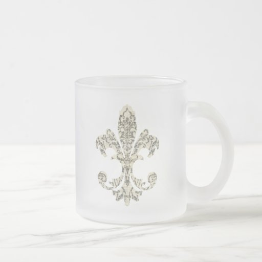Tapestry Fleur de lis 3 10 Oz Frosted Glass Coffee Mug