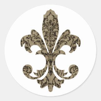 Tapestry Fleur de lis 4 Classic Round Sticker