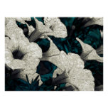 Tapestry Flowers: The Black, White, & Teal Poster