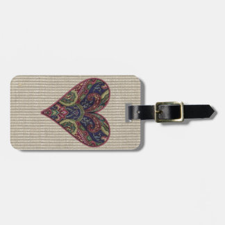 Tapestry Heart Collage Bag Tags