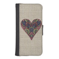 Tapestry Heart Collage Phone Wallet Cases