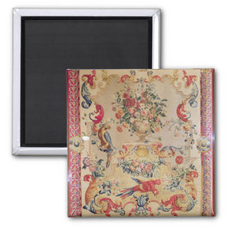 Tapestry in early Rococo style with strapwork and 2 Inch Square Magnet