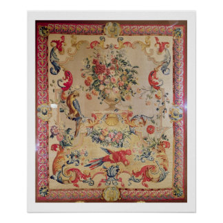 Tapestry in early Rococo style with strapwork and Posters