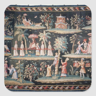 Tapestry in the Chinoiserie style of John van Square Sticker