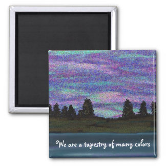 Tapestry of many colors 2 inch square magnet