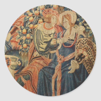 Tapestry of the Parable of the Prodigal Son Classic Round Sticker