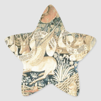 Tapestry of the winged deers by Jean Fouquet Star Sticker