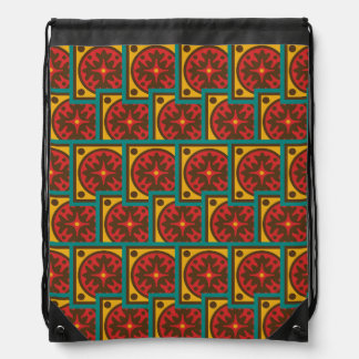 Tapestry pattern drawstring backpack