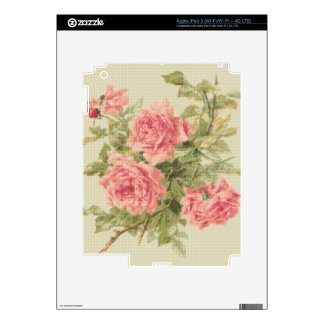 Tapestry Style Pink Roses Decals For iPad 3