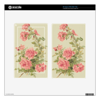 Tapestry Style Pink Roses Decals For Kindle Fire