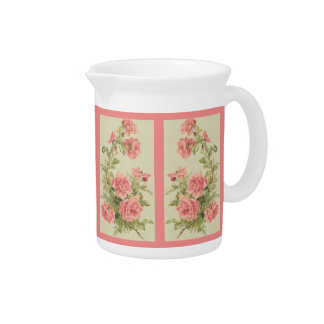 Tapestry Style Pink Roses Drink Pitcher