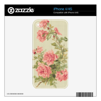 Tapestry Style Pink Roses Skin For iPhone 4