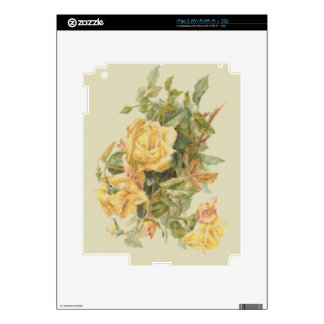 Tapestry Style Yellow Roses Decals For iPad 2