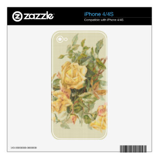 Tapestry Style Yellow Roses iPhone 4S Decal