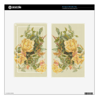 Tapestry Style Yellow Roses Kindle Fire Decals