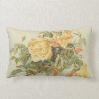 Tapestry Style Yellow Roses Lumbar Pillow