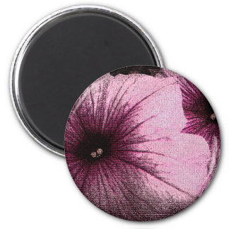 Tapestry Textured Pink and Black Petunias 2 Inch Round Magnet