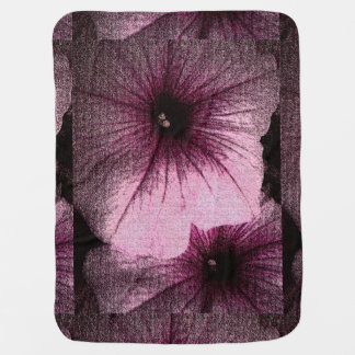 Tapestry Textured Pink and Black Petunias Swaddle Blanket