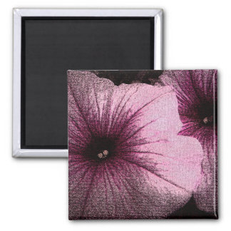 Tapestry Textured Pink & Black Petunias 2 Inch Square Magnet