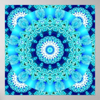 Tapetito azul del cordón del hielo, aguamarina abs poster