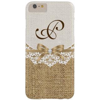 Tapetito blanco con el cordón y el monograma funda de iPhone 6 plus barely there