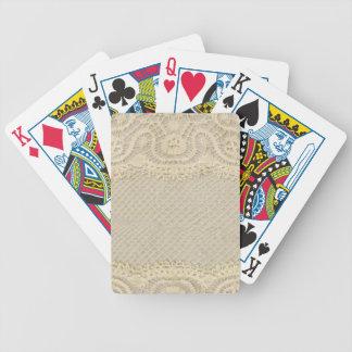Tapetito del amarillo del cordón del vintage baraja de cartas