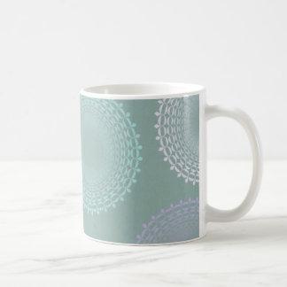 Tapetito del cordón del verde de la espuma del mar taza de café