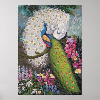 Tapicería 010110 009 del pavo real póster