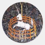 Tapicería #7 del unicornio pegatina redonda